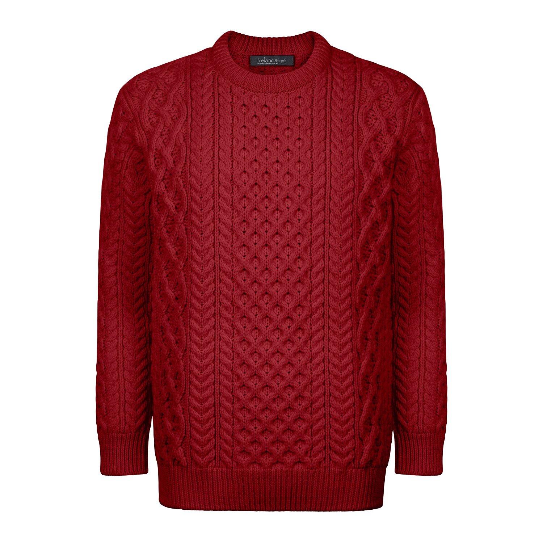 100% Irish Merino Wool Honeycomb Blasket Unisex Aran Sweater by Ireland's Eye