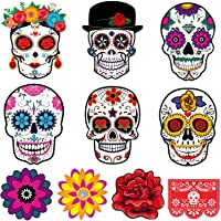 50 Pieces Day of the Dead Cutouts Sugar Skull Cutouts Colorful Skull Halloween Theme Cutouts for Halloween Day of The Dead Party Decorations