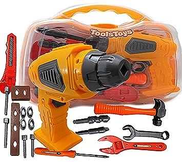 Children Kids Drill Tool Set DIY Builders Building Construction Toy Drill Kids