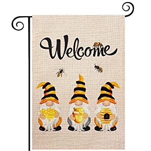 Bee Gnomes Welcome Garden Flag, hogardeck Premium Burlap Summer Yard Flag, Vertical Double Sided Holiday Gnomes Decor, Outdoor Indoor Front Porch Decor, 12.5 x 18 inch