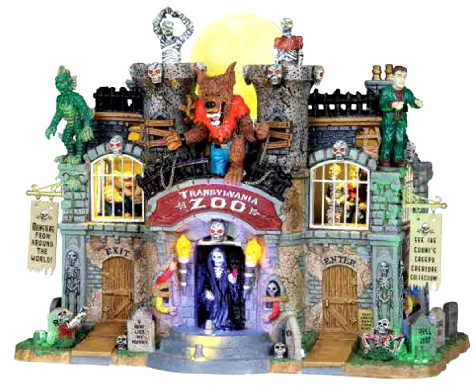 Lemax Spooky Town Transylvania Zoo Animated Musical Lighted Building