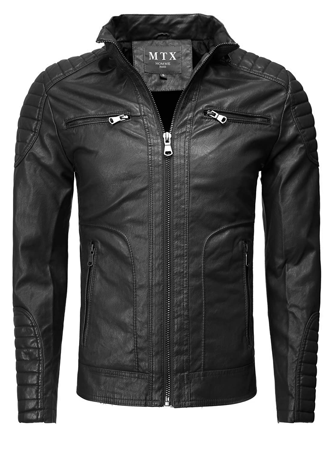 MTX Homme Men Faux Leather Jacket Schulterpolster Slim Fit Section Front Pocket with Zip seitliche Pockets monochrome Biker Look Light Stand-Up Collar