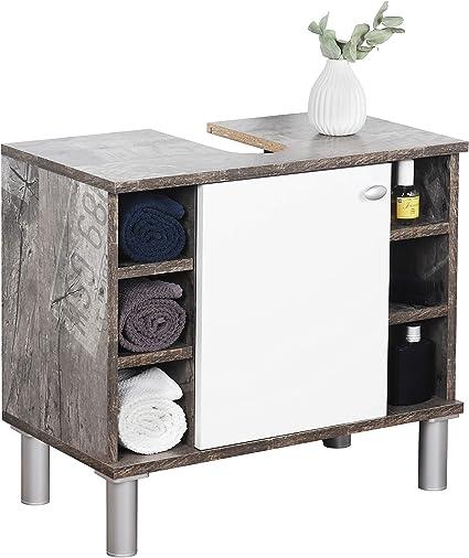 RICOO WM100-CF-W Mueble baño bajo Lavabo 60x54x32cm Armario Auxiliar pequeño Estantería Debajo lavamanos Toallero Madera Blanca y Gris Vintage