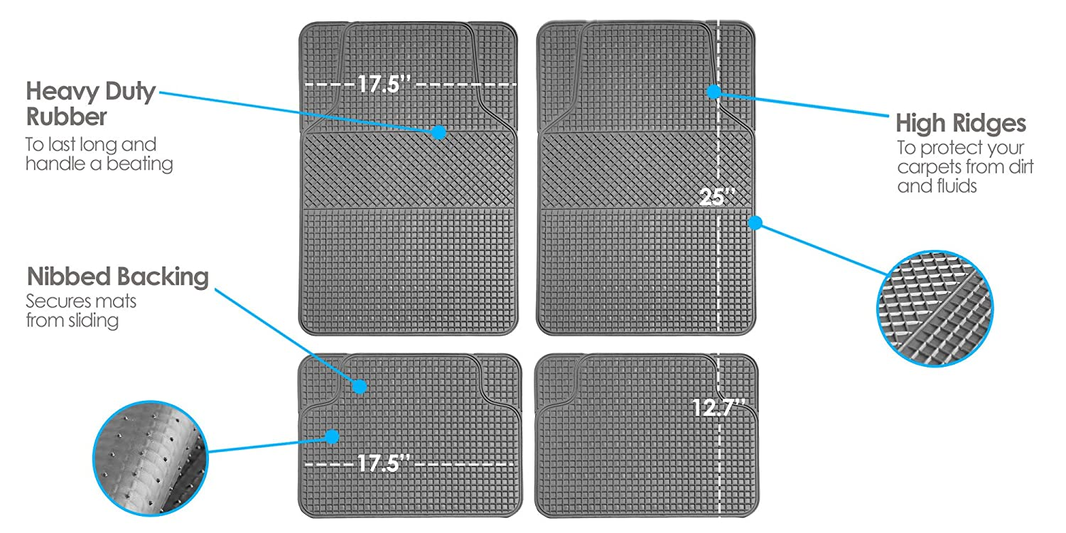 with Faux Leather for Cars, Coupes, Small SUVs FH Group F14408TANBLACK Universal Fit Carpet Floor Mat