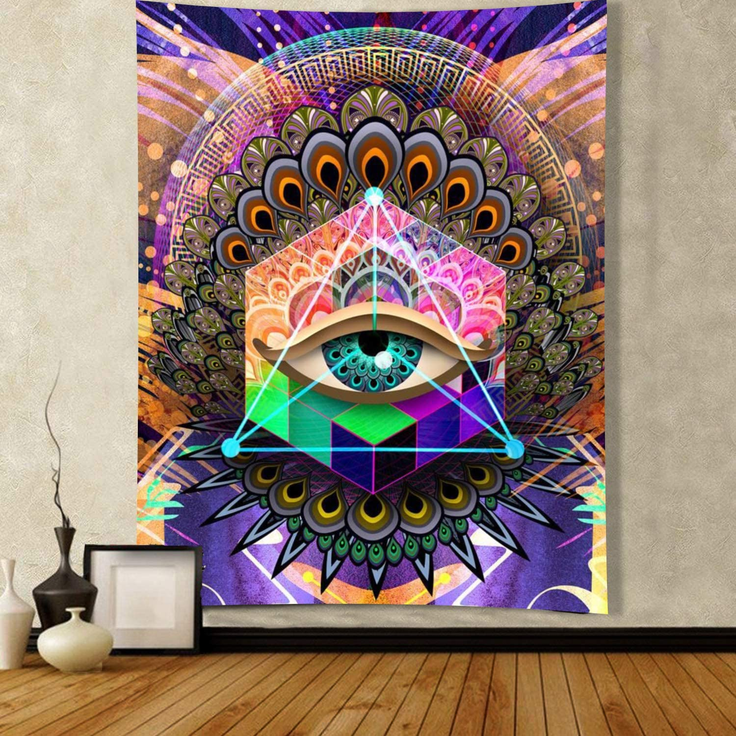 """ENJOHOS Psychedelic Wall Tapestry Cool Egyptian Eye of Horus Boho Mandala Eye Tapestry Wall Hanging Colorful Hippie Bohemian Wall Tapestry for Bedroom Living Room Dorm(Eye,W44"""" x T60"""")"""
