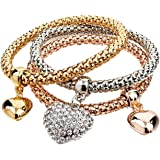 Jewels Galaxy Luxuria Limited Edition Triple Layer 18K Rose Gold & Platinum Plated Dangling Charm Bracelet for Women/Girls