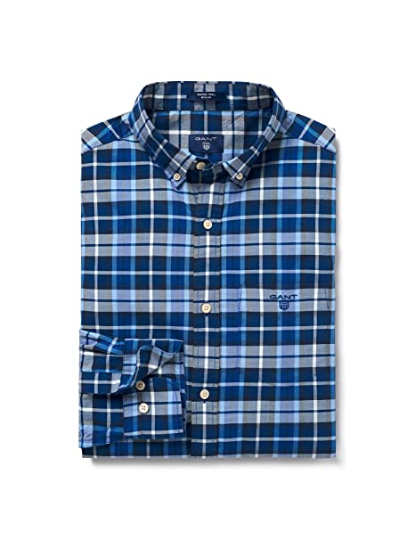 Gant Hombres Regular fit Cuadros Camisa Azul XXL: Amazon.es: Ropa ...