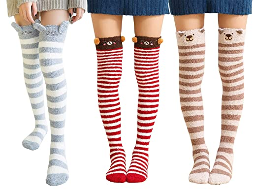 d3e43261bdc Urban CoCo Women s Cartoon Fuzzy Socks Winter Warm Over Knee High Socks ( 3  pack
