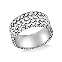 Tuscany Silver Sterling Silver Men's Herringbone Patterned Ring