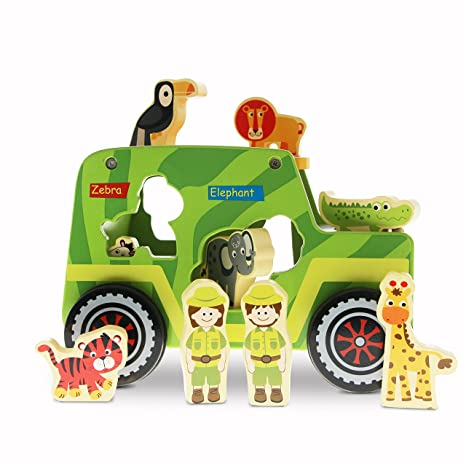 Amazon Com Usa Toyz Wooden Toys Shape Sorter 10 Pc Safari Truck