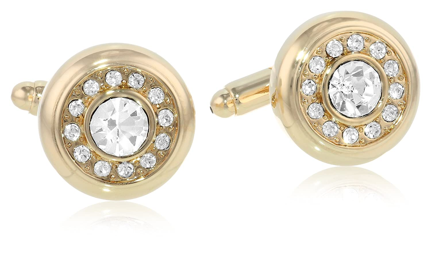 Stacy Adams Mens Round Gold Cuff Link W//Crystals