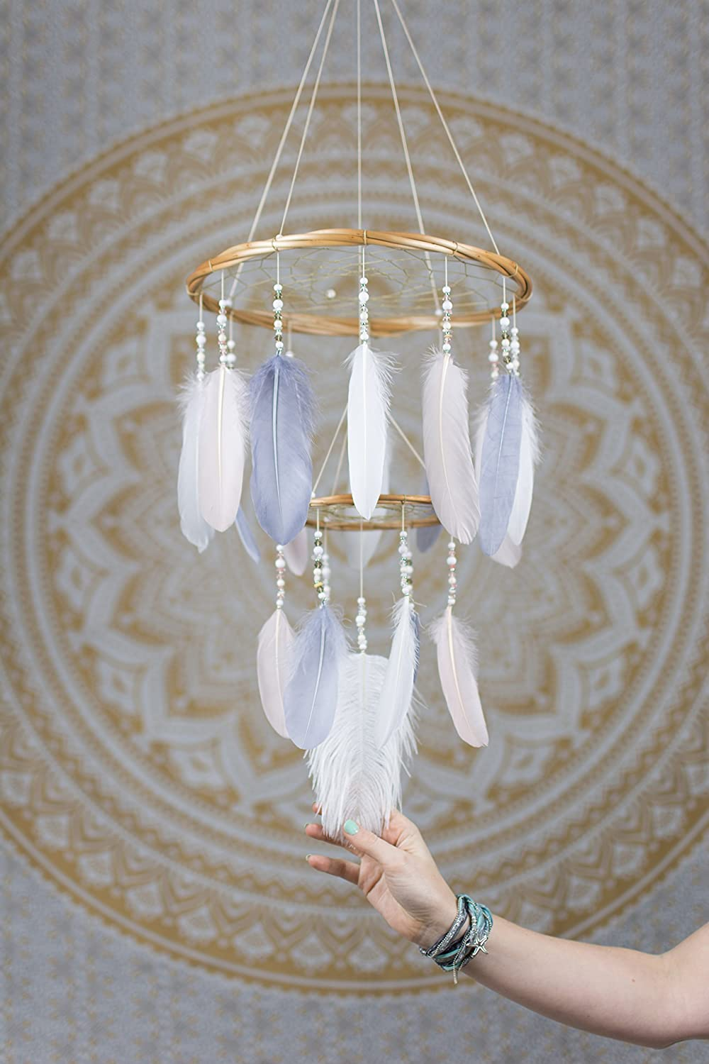Handmade Dream Catcher Mobile Gift Perfect for Baby Showers and Nursery Gifts Dreamcatcher Mobile Chandelier Blush Pink Grey and White