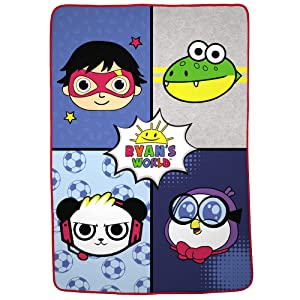 "Franco Kids Bedding Super Soft Plush Microfiber Blanket, Twin/Full Size 62"" x 90"", Ryan's World"