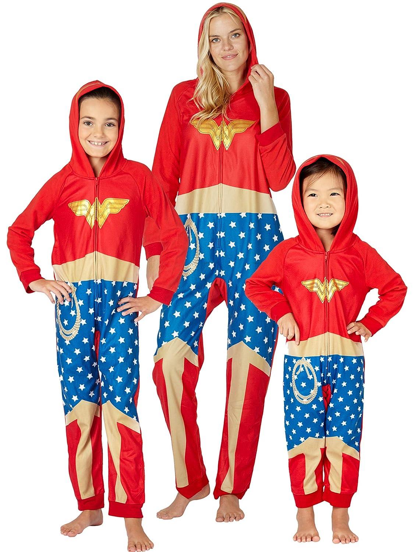DC Comics Wonder Woman Onesie Costume Fleece Hooded Holiday Pajama Intimo
