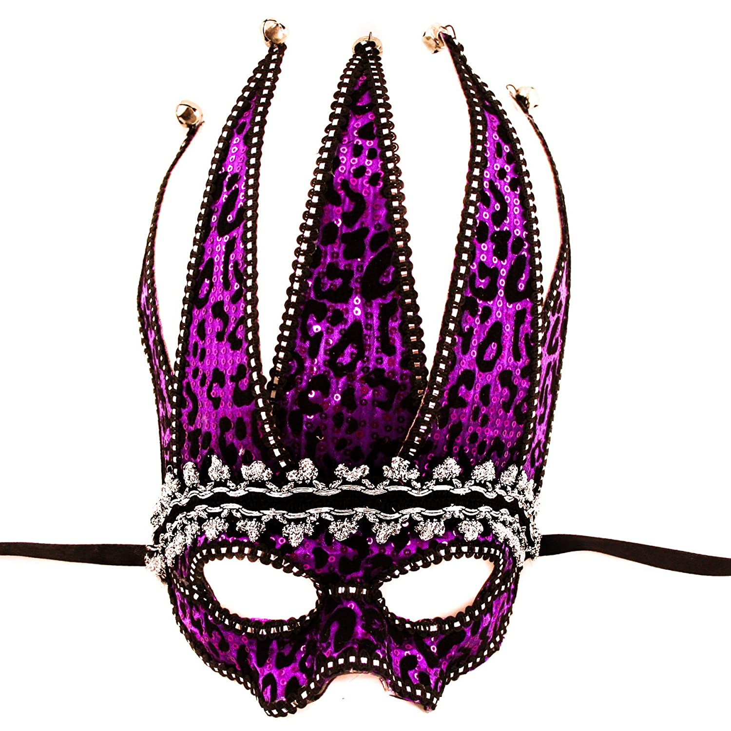 FloristryWarehouse Black & Purple Jester Masquerade Mask Venetian ball party 30x20cm satin ties