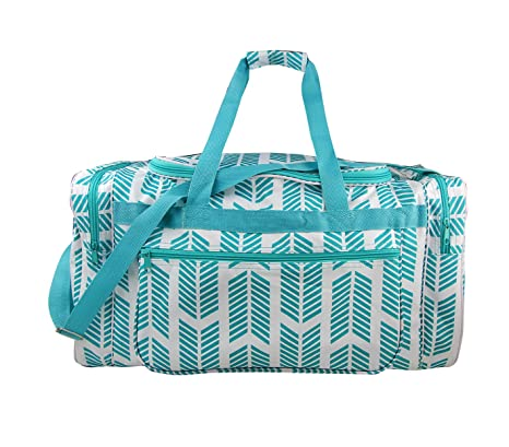 e9f8107269d6 ND22-22-TO Turquoise white Arrow Pattern Design Gym Dance Cheer Duffel Bag  (21in)