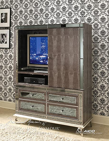 Hollywood Swank Leather Armoire Media Cabinet By Aico Amini