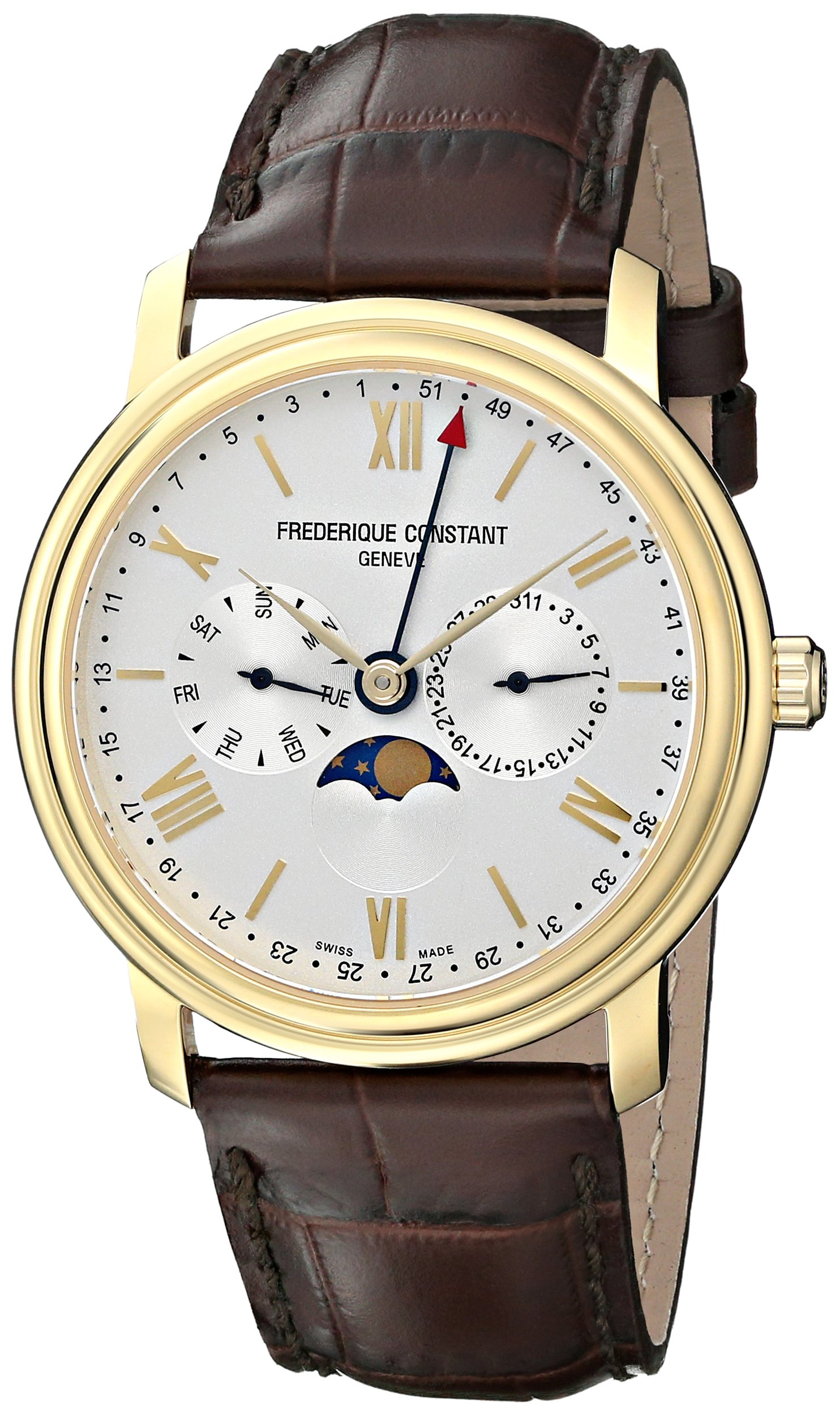 Frederique Constant Men's FC270SW4P5 Business Time Stainless Steel Watch With Brown Leather Band by Frederique Constant