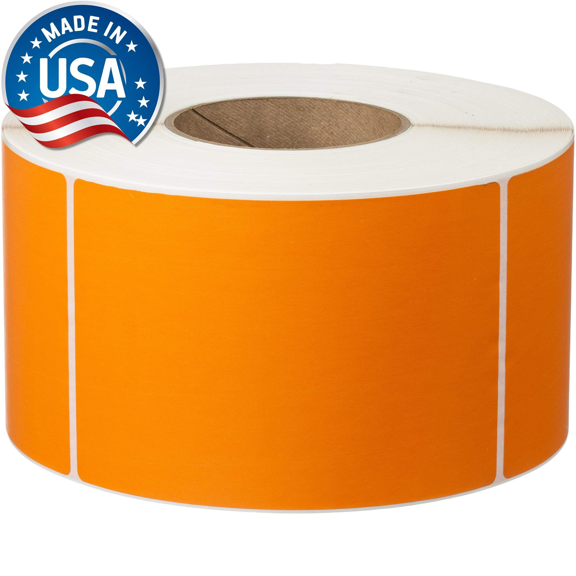 Direct Thermal Labels - 4'' x 6'' - Orange - 3'' Core - Works with Zebra Thermal Desktop Printers, Datamax, Sato, Intermec and Honeywell Printers - Made in USA by Labels for Us