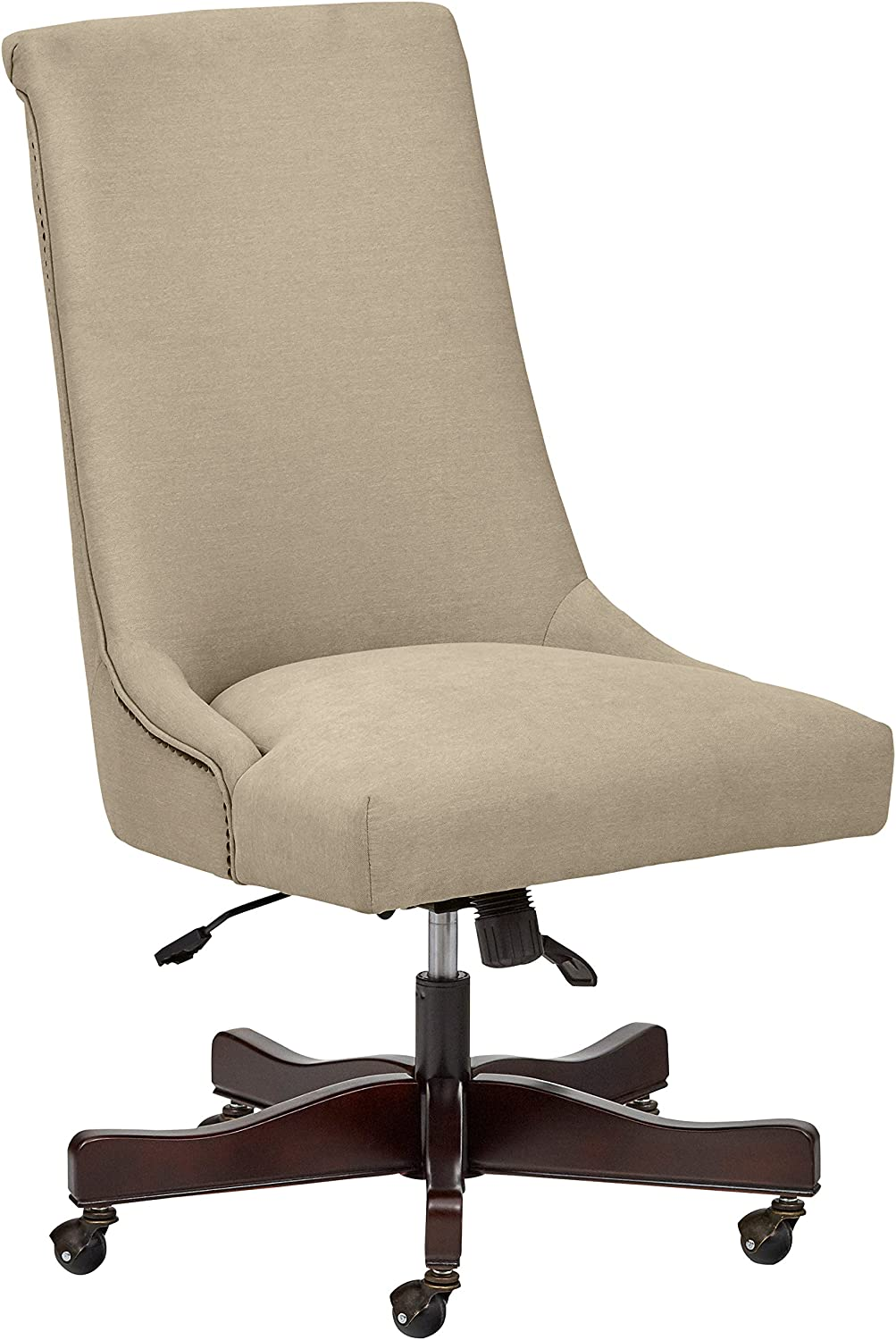Stone Beam Nailhead Swivel Office Chair with Wheels, 28.4 W, Fawn