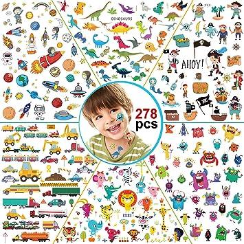 Konsait 278pcs Tatuajes temporales para niños, 6 Series ...