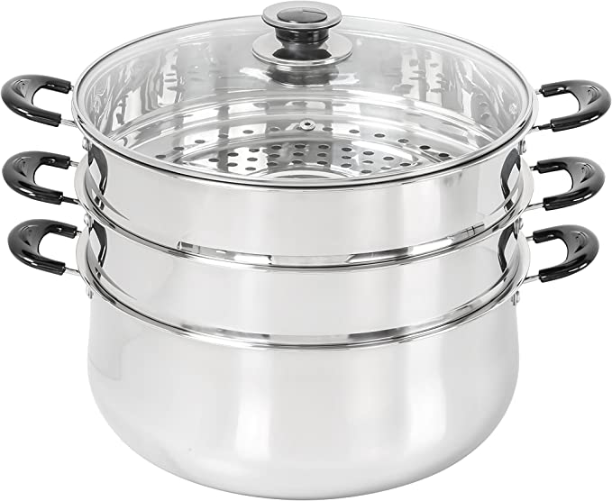 Amazon Com 30 Cm Stainless Steel 3 Tier Steamer Pot Steaming Cookware By Concord Steamer Sets Kitchen Dining
