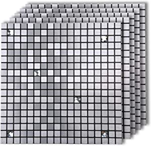 "HomeyMosaic Peel and Stick Tile Backsplash for Kitchen,12""x12"" Aluminum Surface 3D Wall Sticker Panel Metal Mosaic(5 Sheets,Silver,Glass Mixed)"