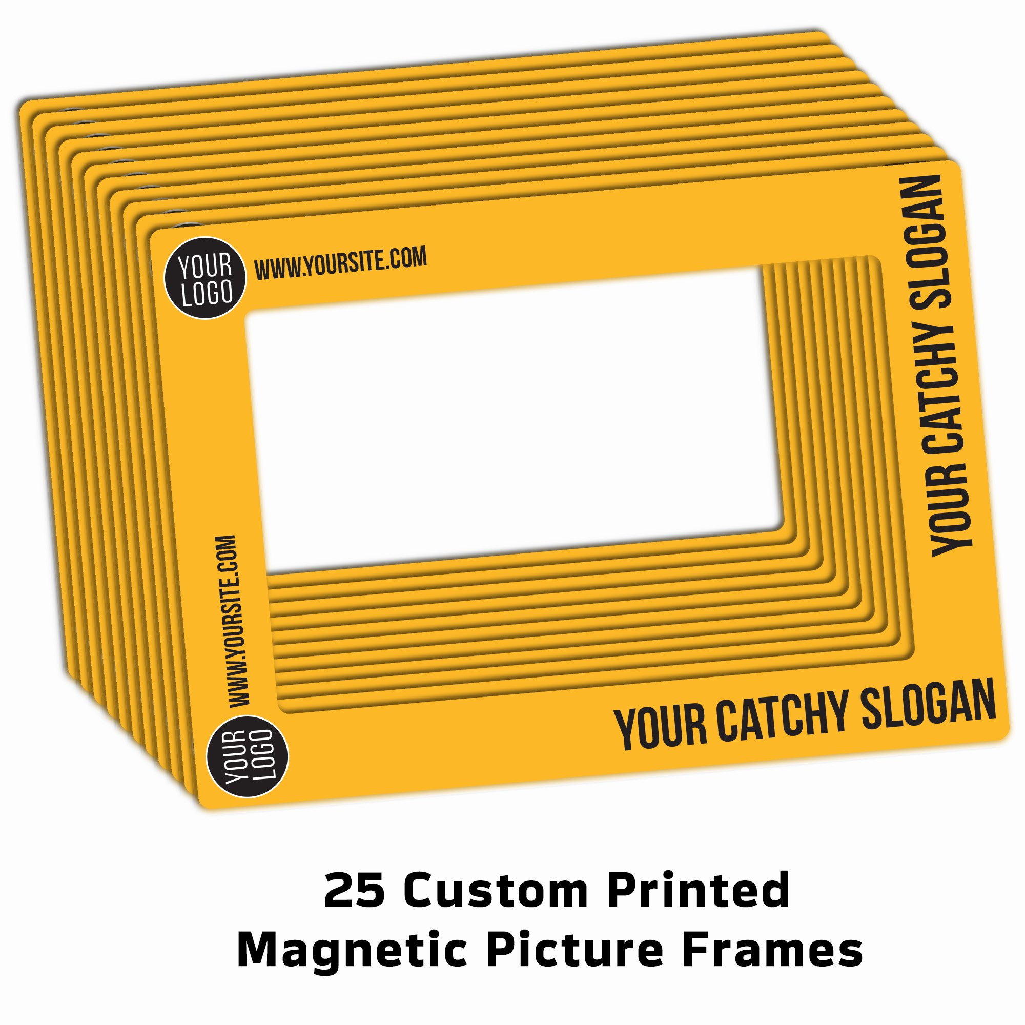 Worthy Promo 25 Magnetic Picture Frames for Business Promotional Products, Fits 4x6 and 5x7 Pictures, Plus 25 Customized Bonus Magnets Featuring Your Logo