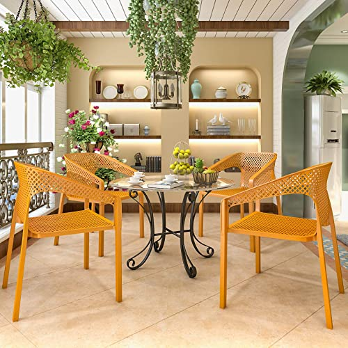 Plastic Ding Chair Modern Kitchen and Dining Room Backrest Armchair Set of 2,4 4
