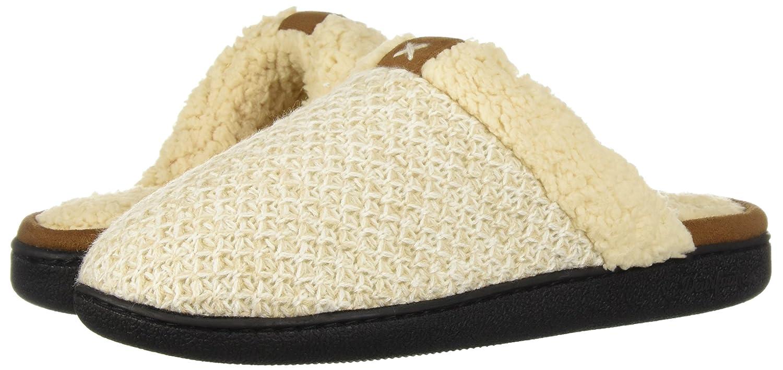M Regular US Oatmeal Heather Dearfoams Womens Textured Knit Closed Toe Scuff Slipper