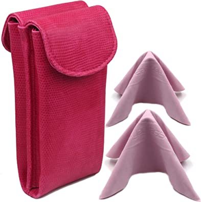 Double Eyeglass Case for 2 medium frames Semi Soft glasses pouch with magnetic closure & 2 cleaning cloths