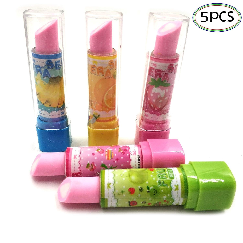 Lipstick Eraser set per bambini ragazze studenti creativi gomma da cancellare Kawaii materiale scolastico gomme per matita Giveaways interessante giocattolo per bambini, scuola piccoli giochi per bambini studenti 5 pz Oubaiyi