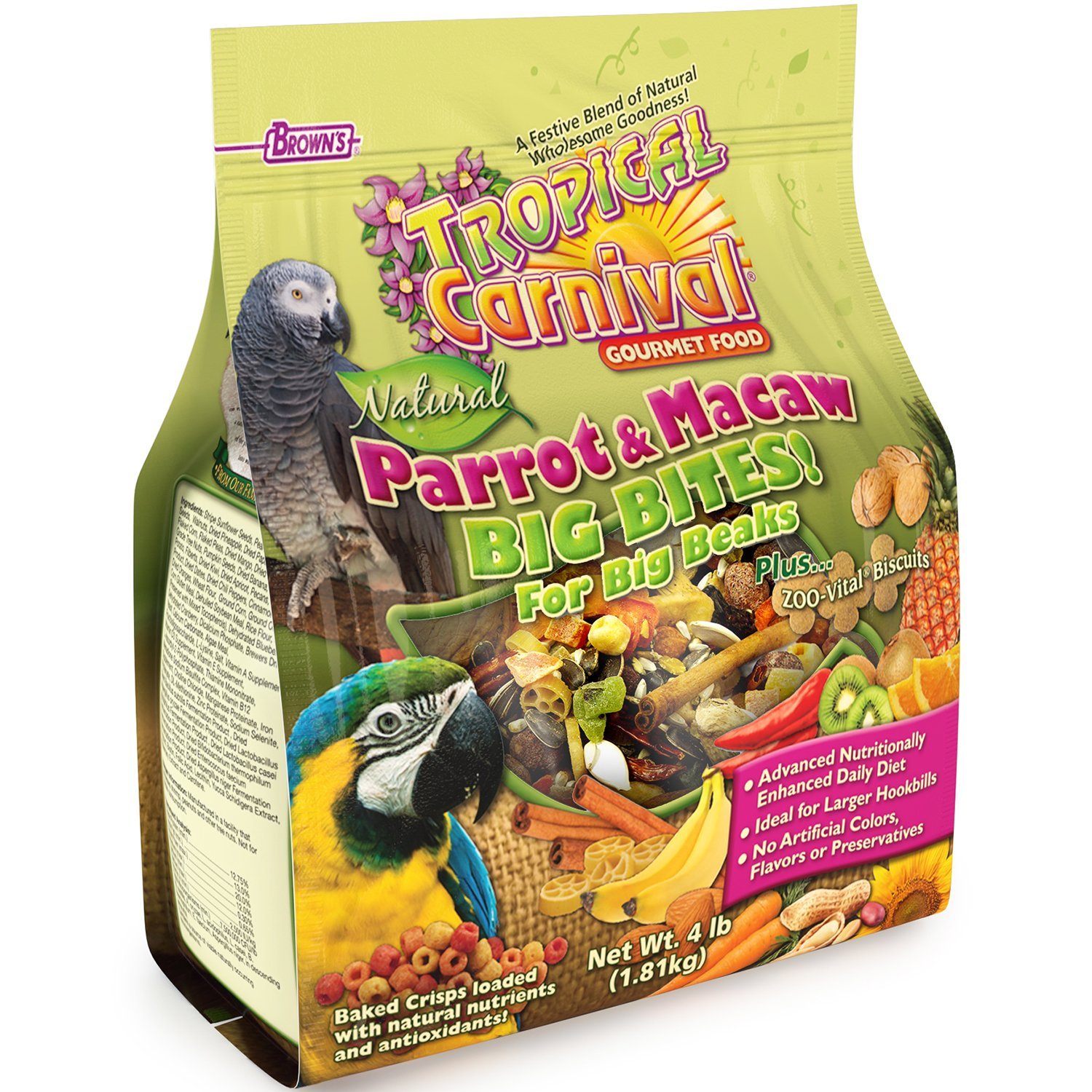 F.M. Brown's Tropical Carnival Natural Parrot, Cockatoo, and Macaw Food for Big Beaks with Fruits, Veggies, Nuts, and Grains, 4-lb Bag - Vitamin-Nutrient Fortified Daily Diet by Tropical Carnival