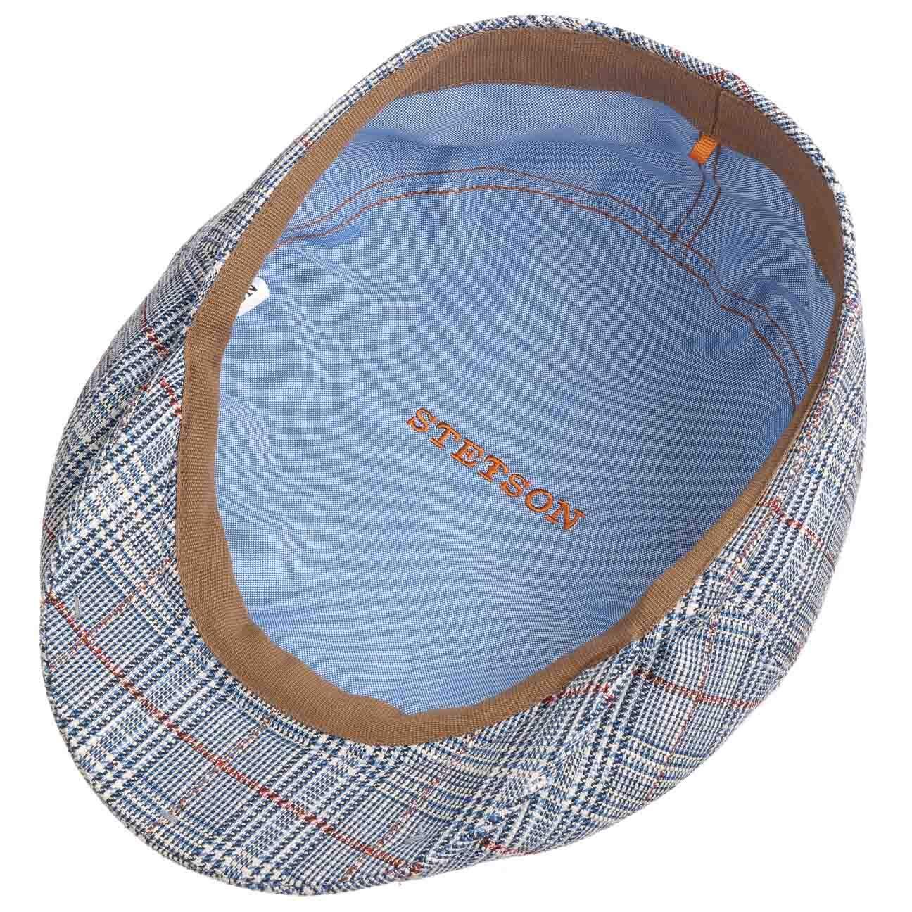 Made in The EU mit Schirm Futter Futter Stetson Bedford Cotton Linen Check Flatcap Schirmm/ütze Baumwollcap Leinencap Schieberm/ütze Herren