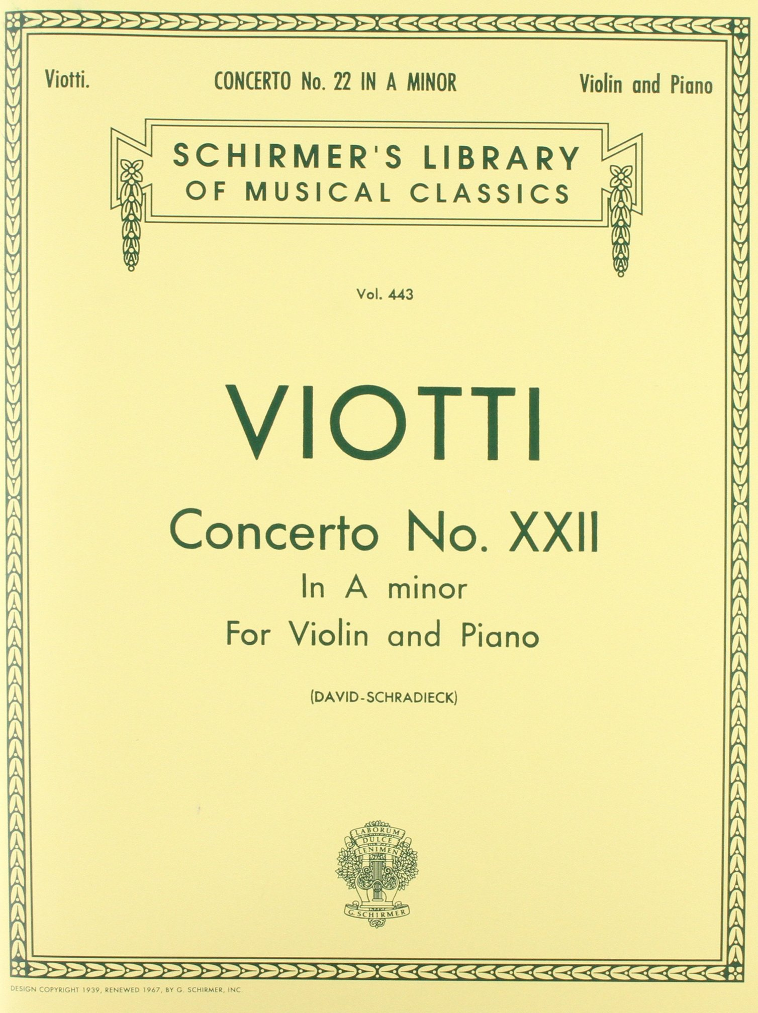 Concerto No. 22 in A Minor: Score and Parts