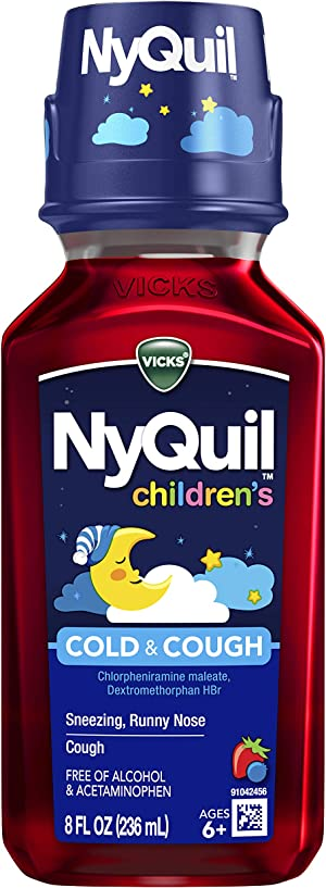 Vicks NyQuil Children's, Nighttime Cold & Cough Multi-Symptom Relief, Relieves Sneezing, Runny Nose, Cough, Berry Flavor, 8 Fl Oz