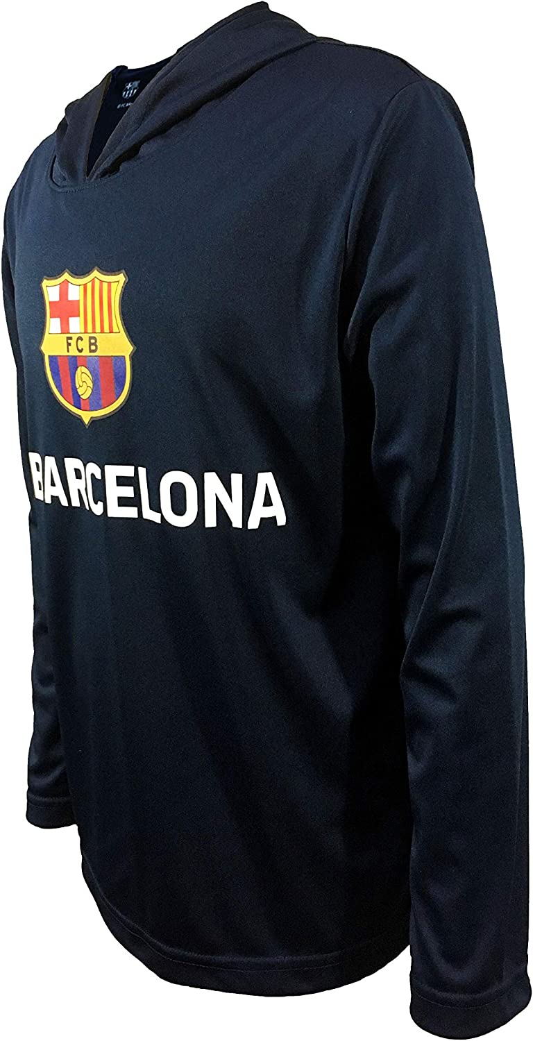 Official FC Barcelona Junior Boys Long Sleeve Pull Over Hooded Top