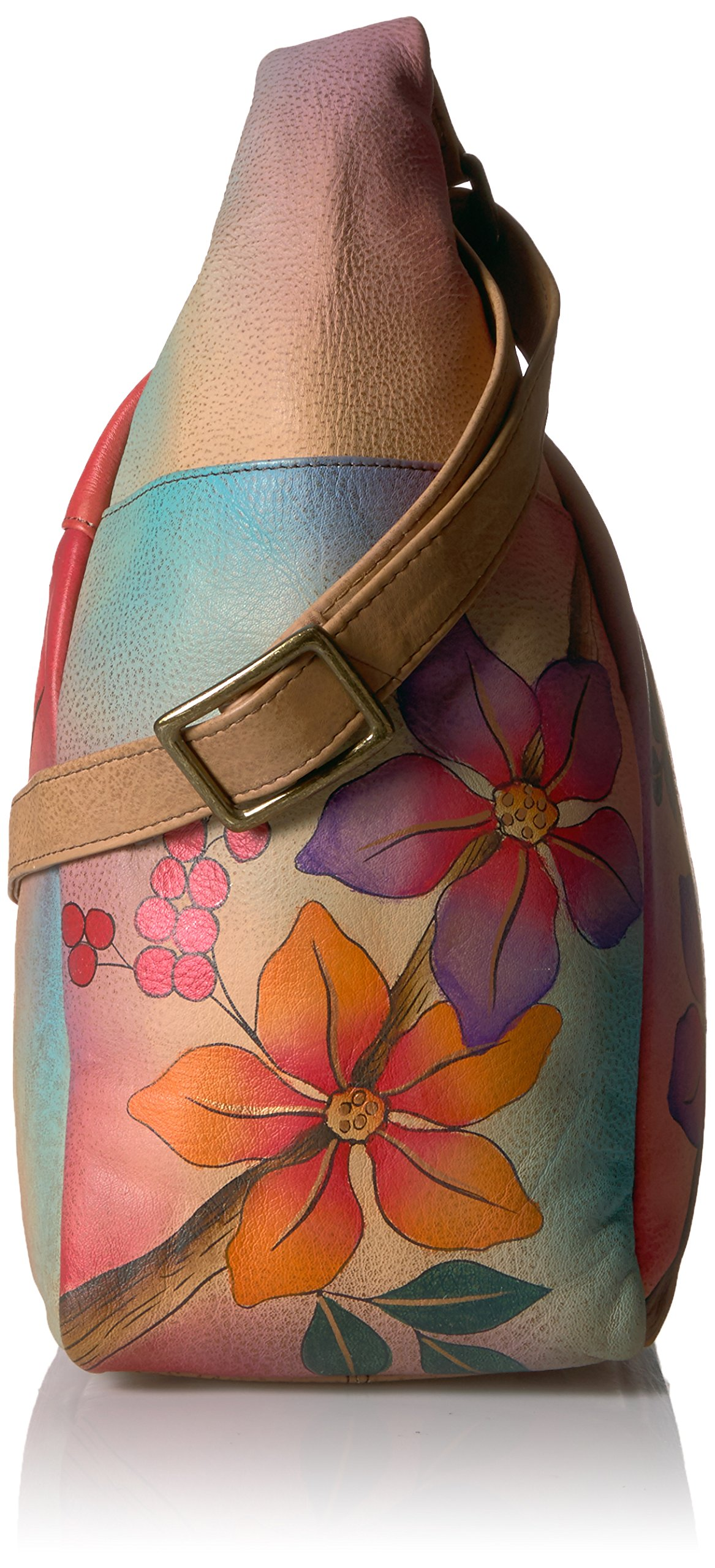 Anuschka Anna Handpainted Leather Large Multi Pocket Hobo, Bird on a Branch by ANUSCHKA (Image #3)
