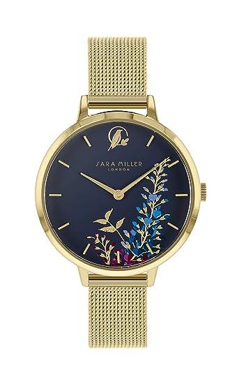 Sara Miller The Wisteria Collection SA4030 - Reloj con Correa de Malla bañada en Oro: Amazon.es: Relojes