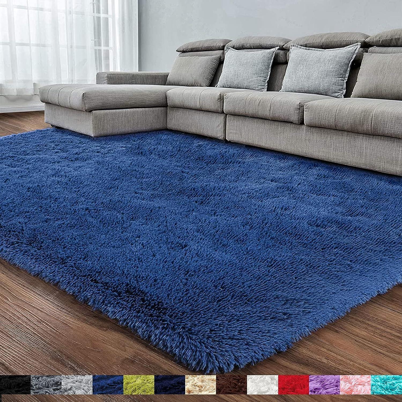 Navy Blue Soft Area Rug for Bedroom,3x5,Fluffy Rugs,Shag Rugs for Living Room,Furry Rugs for Boys Kids Room,Shaggy Rug for Nursery Dorm Room,Non-Slip Rug,Navy Blue Carpet,Home Decor,Rectangular Rug