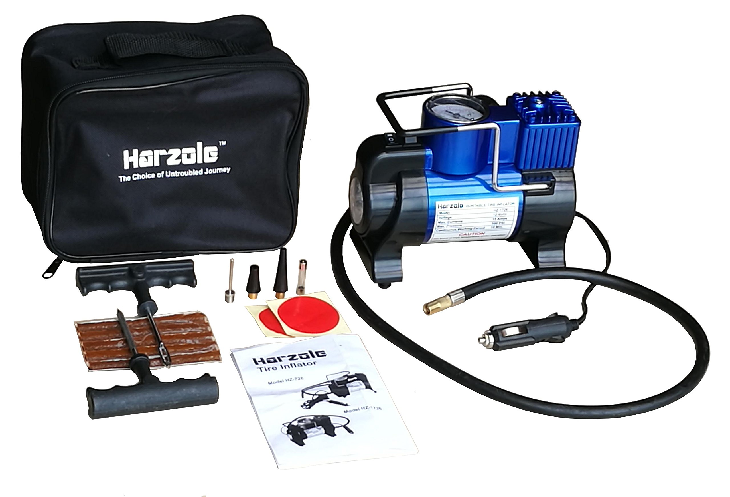 Harzole HZ-1726B DC 12V Car Air Pump, Tire Inflator, Portable Air Compressor Kit with LED Lighter HZ-1726, with tire Repair kit HZ-420B