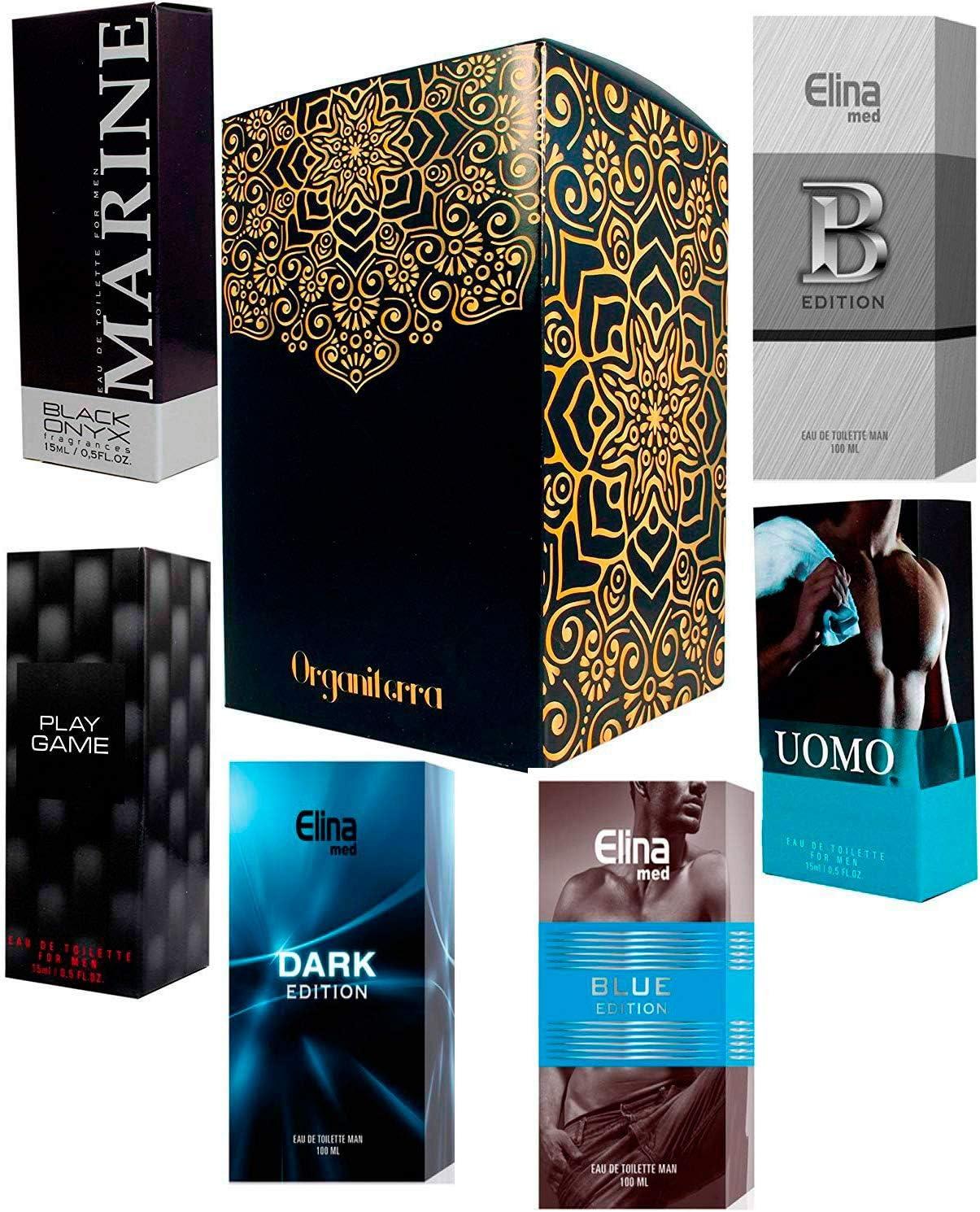 Set de 6 (seis) Perfumes Para Hombre 15ml Cada uno en Caja Individual con Atomizador. (Eau de Toilette) Presentados en una Caja de Regalo Organiterra