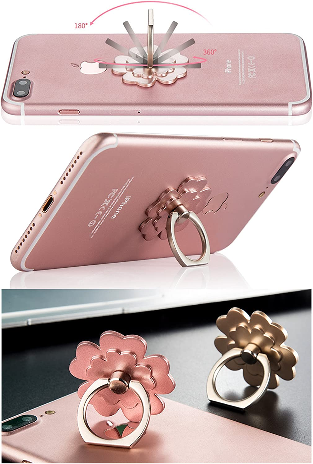 Lucky Flower mengfly 43237-133596 360/°Rotary Finger Grip Stand Holder Ring Phone Ring Stand Holder 4 Pack Car Mount Universal Smartphone Kickstand for iPhone//Samsung // Galaxy//Phone Case