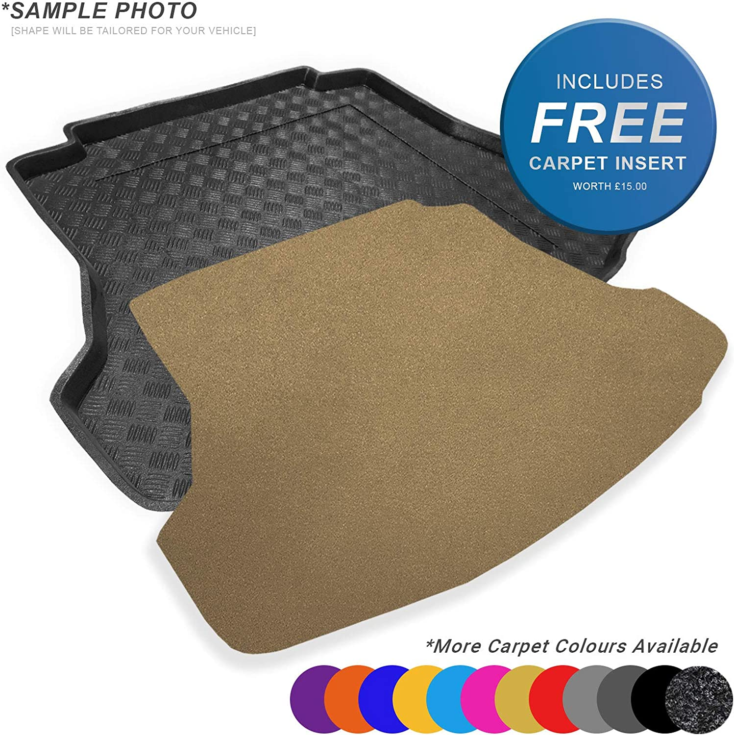 CARMATS4U.COM Tailored Boot Liner//Tray//Mat for Insignia II HB 2017 /& Removable Anti-Slip Grey Carpet Insert
