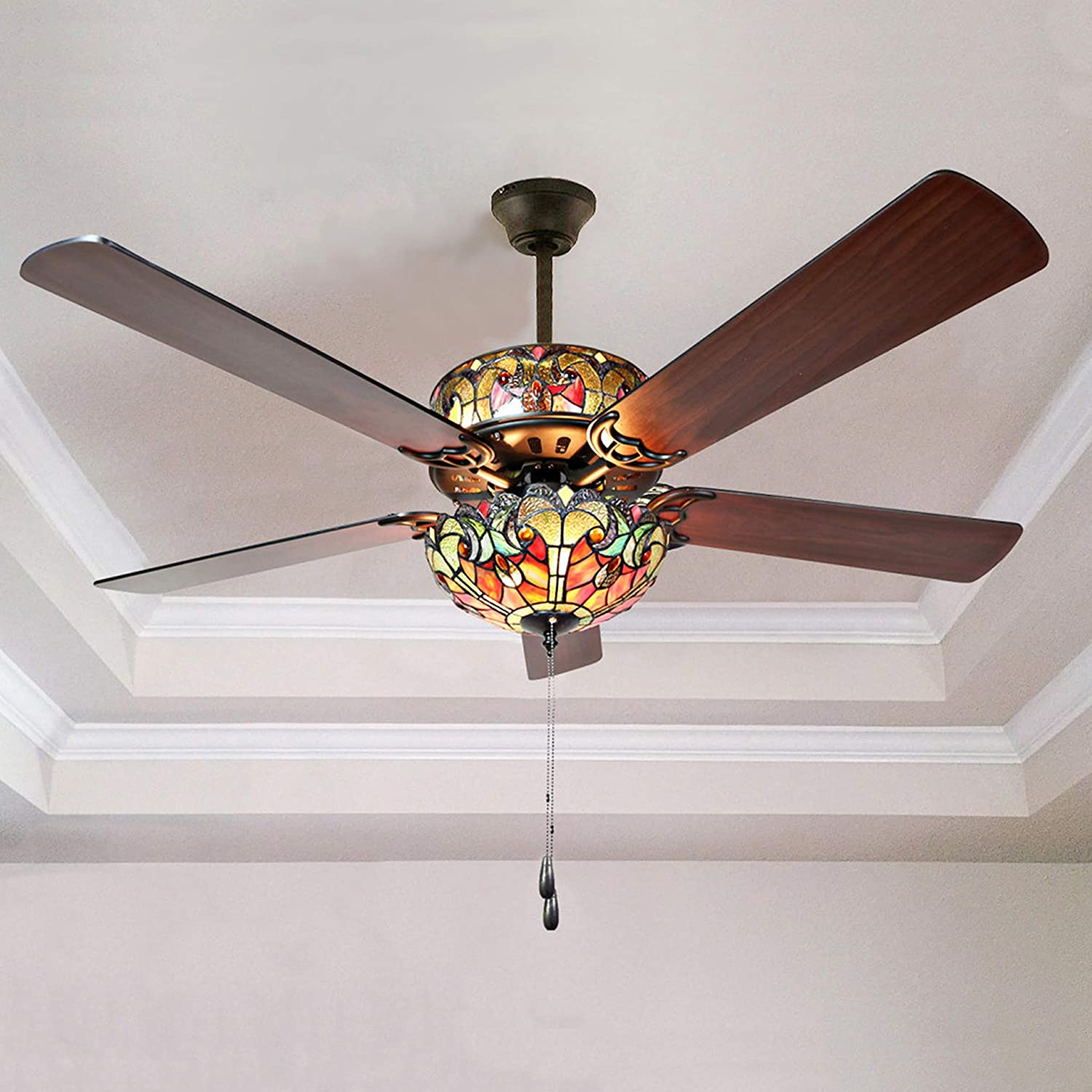 Amazon Com River Of Goods Tiffany Style 52 Inch Width Stained Glass Halston Led Ceiling Fan Spice Kitchen Dining