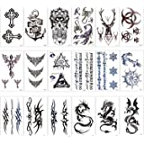 Konsait Temporary Tattoos for Adult Men Women Kids(18 Sheets), Waterproof Temporary Tattoo Fake Tattoos Body Art Sticker Cover Up Set,Dragon Anchor Eye Scorpion Graphic Elk