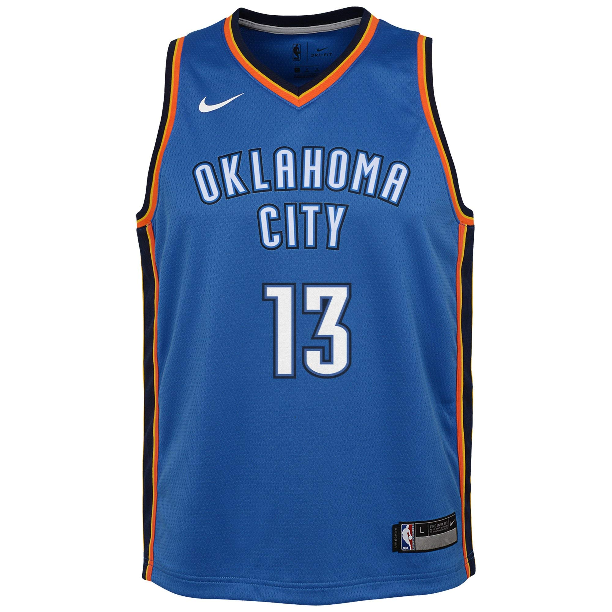 Nike Youth Paul George Oklahoma City Thunder Icon Edition Jersey - Blue (Gold, Youth Large (14-16)) by Nike (Image #2)