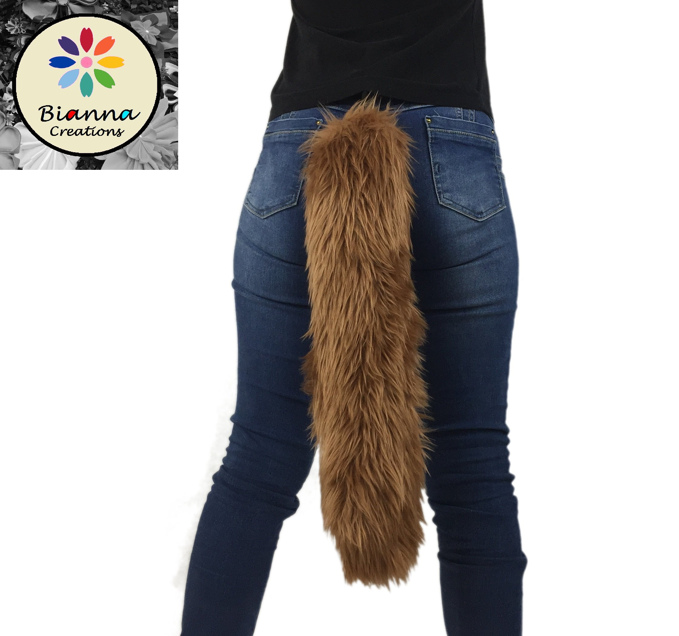 Long Faux Fur Animal Luxury Tail, Cosplay, Anime Lover, Costume Dress Up Pet Play Furry Super Soft Accessory (20'', Brown)