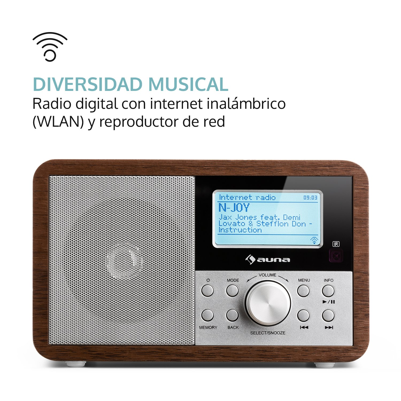 auna Worldwide Mini • Radio Internet • Wi-Fi • USB • MP3 • Entrada AUX • Dab/Dab+/ FM • Función RDS • Alarma Dual • Snooze • Temporizador • Diseño ...