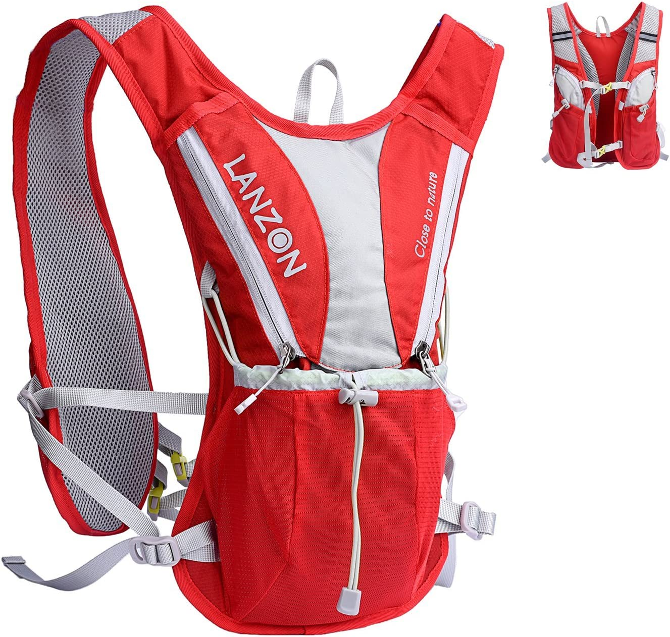 LANZON 2L Hydration Pack (NO Bladder), Marathon Running Vest, Hiking Cycling Backpack